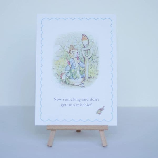 Peter Rabbit A5 Sign & Easel, 'Now Run Along..' 1st Birthday Party Table, Christening Baptism Party, Easter Party Decorations